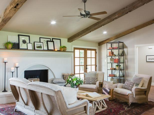 Renovated Living Room With Exposed Beams