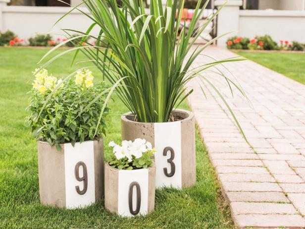 DIY Address Number Planters