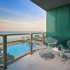 Oceanfront Balcony With Blue Wall Panels