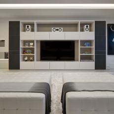 White Modern Living Room With TV
