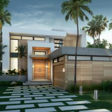 Modern Home Surrounded by Palm Trees