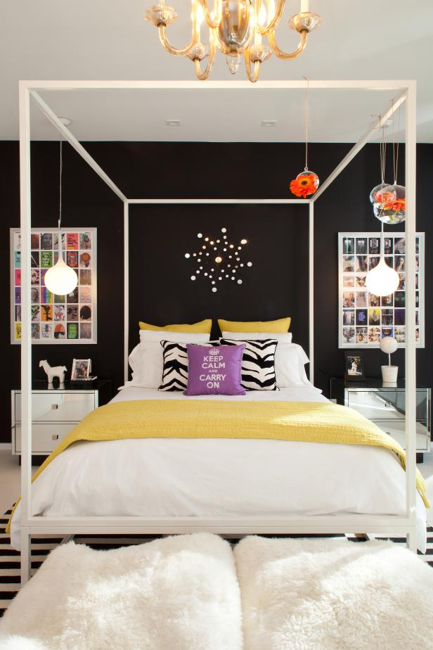 Black-and-White Ecletic Bedroom