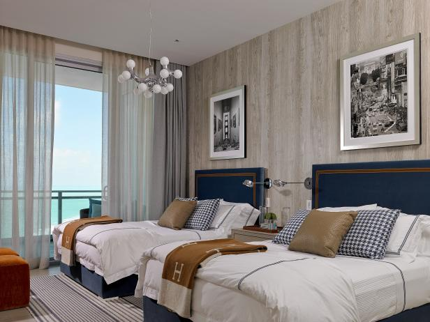 Bedroom With Blue Twin Beds