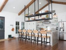 Suspended Shelves in Remodeled Contemporary Kitchen