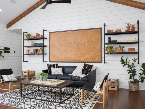 Living Room With Shiplap Walls and Vaulted Ceiling