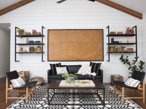 Industrial Farmhouse Living Room With Slingback Lounge Chairs