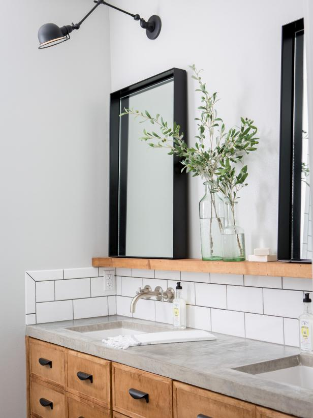 Subway Tile and Shelves in Master Bathroom