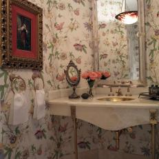 Vintage Bathroom With Floral Wallpaper