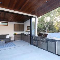 Outdoor Dining Area With Complete Kitchen and Telescoping Wall