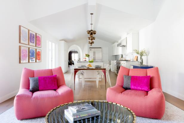 Small Family Room with Pink, Oversized Swivel Chairs