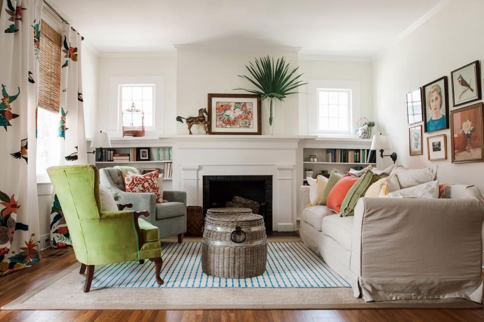 White Cottage Living Room with Fireplace