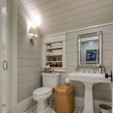 Cozy Bathroom With Shiplap Walls And Ceiling