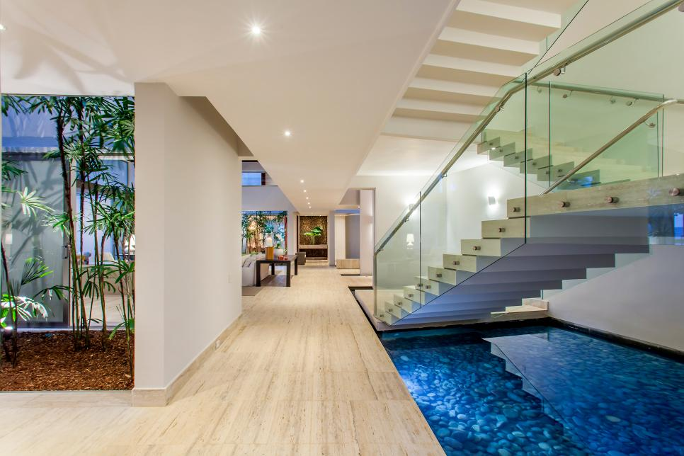 Contemporary Hall and Floating Stairs