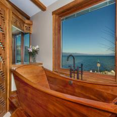 Rustic Spa Bathroom With Wood Soaking Tub