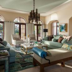 Serene Oceanfront Family Room With Blue And Green Accents