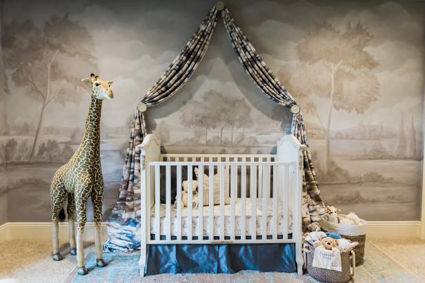Gray and Neutral Nursery With White Crib and Giraffe Stuffed Animal
