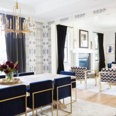 Mid Century Modern Dining Room With Blue Velvet Chairs