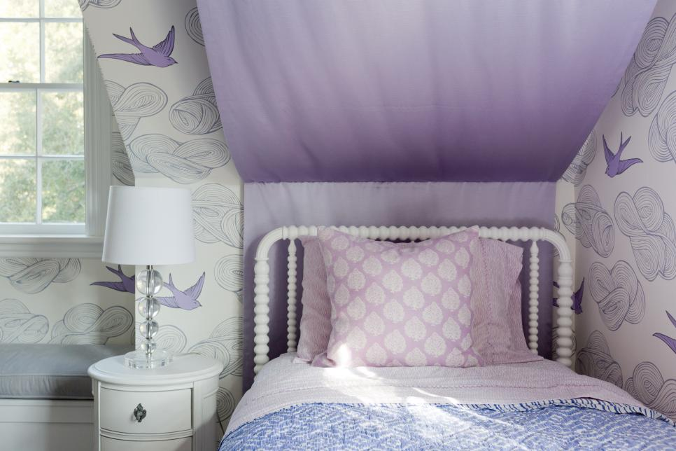 Eclectic Girl's Bedroom With Purple Color Palette
