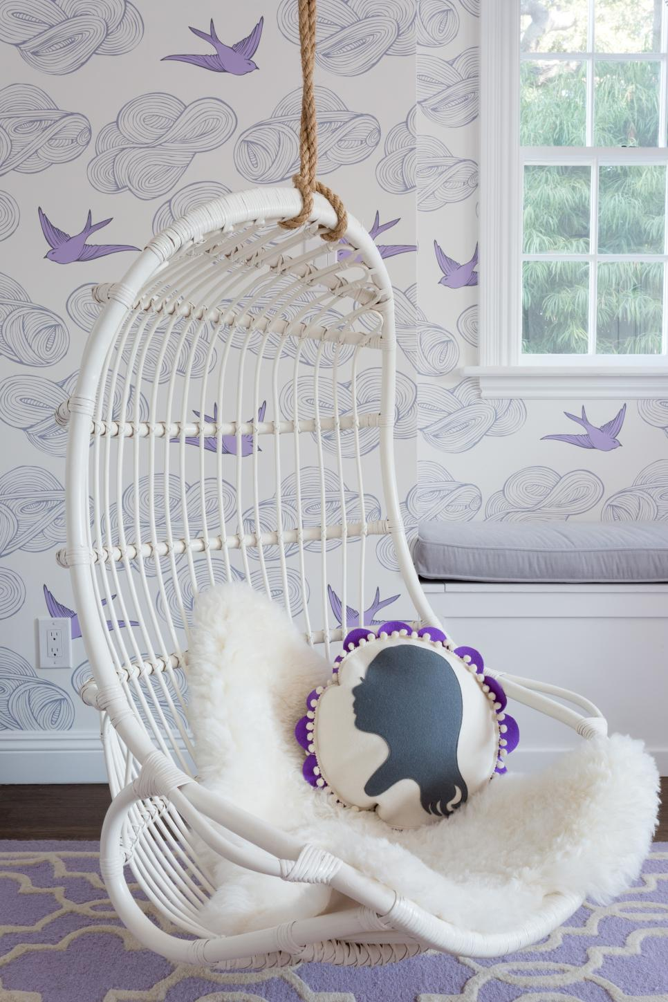 Eclectic Purple Girl's Bedroom With Hanging Chair