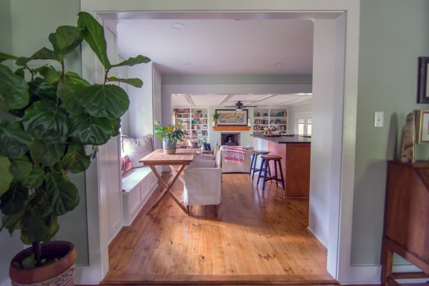 Green Kitchen with Brown Hardwoods