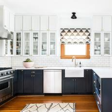 White Contemporary Kitchen With Graphic Shade