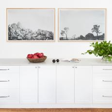 Artwork and White Cabinets