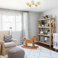 Neutral Transitional Nursery With Rocking Horse