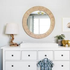 White Dresser and Round Mirror