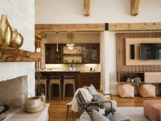 Contemporary, Rustic Living Room and Bar