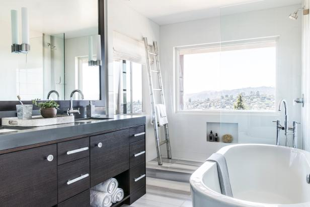 Contemporary Bathroom With Double Vanity
