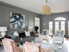 Gray, Transitional Living Room With Chesterfield Sofa