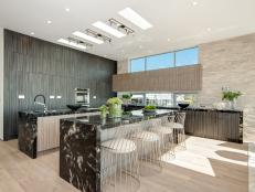 Contemporary Open Floor Kitchen With Double Islands