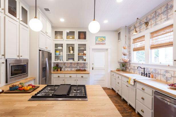 White Kitchen with Neutral Butchers Block Countertops