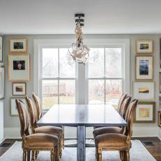 Transitional Dining Room With Gallery Wall