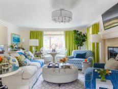 Bright Colors Enliven Living Room in California Home