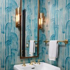 "Teal Patterned Wallpaper and Gold Details Create ""Wow!"" Factor in Powder Room"