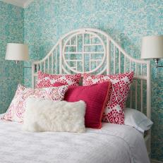 Vibrant Teal and Pink Bedroom