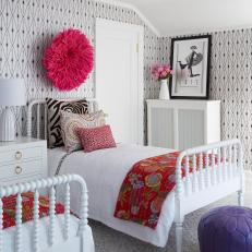 Black and White Guest Bedroom with Pink Accents
