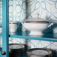 Patterned Wallpaper Adds Texture to Bold, Teal Kitchen