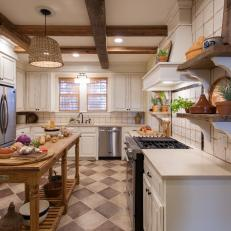 Neutral French Country Kitchen With Custom Made Basket Light