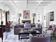 Neutral Parlor Space with Purple Accents