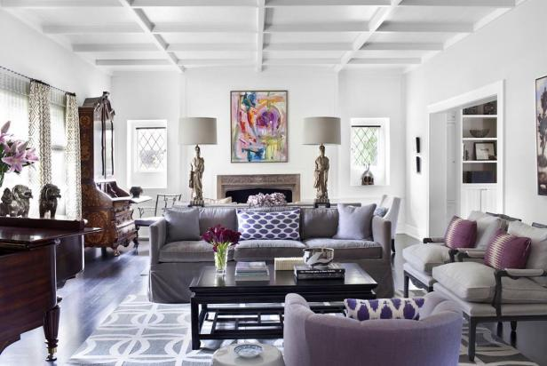 Purple Accents in Neutral Parlor Space