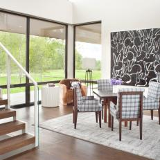 Contemporary Dining Room With Bunny Art