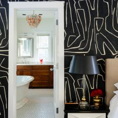 Black and White Wallpaper Makes Master Bedroom Pop