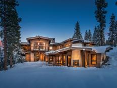 Mountain Getaway with Brightly Lit Exterior