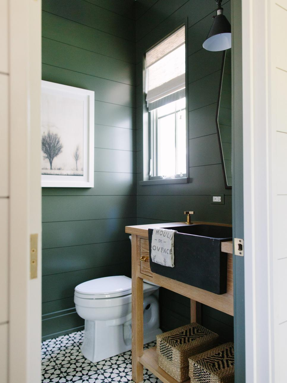Hunter Green Bathroom With Light Wood Vanity