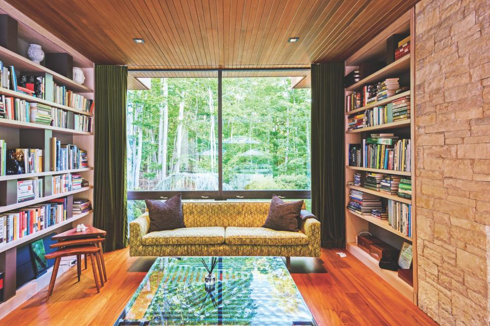 Modern Library With Paneled Ceiling