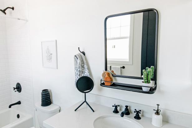 Black and White Bathroom with Fun Contrast