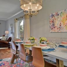 Eclectic Dining Room Mixes Pattern and Texture