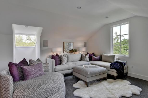 Transitional White Living Room With Purple Pillows
